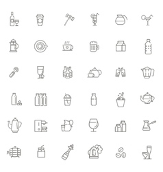 Outline web icon set - drink coffee tea alcohol vector image