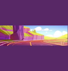 Overpass highway empty road mountains landscape vector