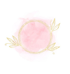 pastel rose watercolor stain with circle golden vector image