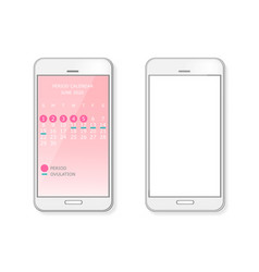 Period and ovulation calendar on smart phone vector