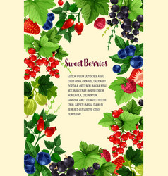 Poster of fresh sweet berries vector