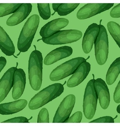 Seamless pattern with fresh ripe cucumbers vector