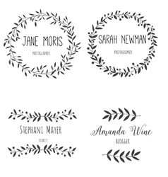 Set hand drawn logo Nature design allements vector