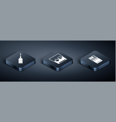Set isometric champagne bottle open cigarettes vector