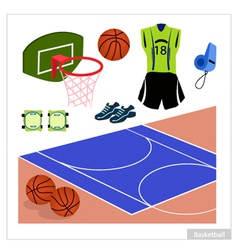 Set of Basketball Equipment on White Background vector image