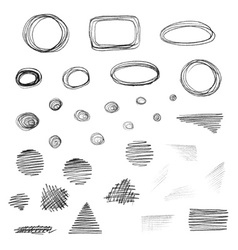 set of grunge elements isolated on white vector image