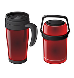 Set of hot mug and thermos isolated vector