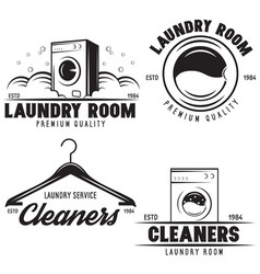 set of laundry logos emblems and design vector image