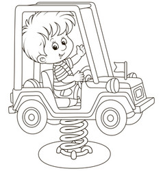small boy on a toy car swing on a playground vector image