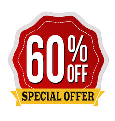 Special offer 60 off label or sticker vector