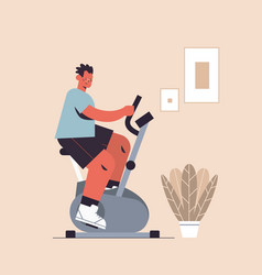 sportsman riding stationary bike man having vector image