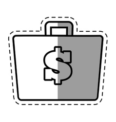 suitcase money business element shadow vector image
