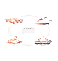 Swimming pool - swimming diving water polo vector