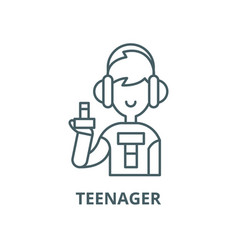 teenager line icon linear concept outline vector image