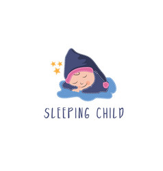 template icon sleeping kid vector image