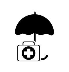 Umbrella and first aid kit icon vector