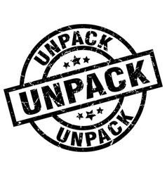 Unpack round grunge black stamp vector