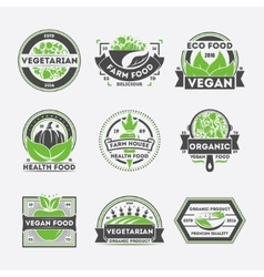 Vegetarian food vintage isolated label set vector image