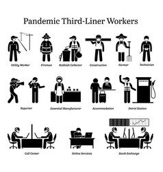 Virus pandemic third-liner workers icons vector
