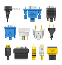 wiring connectors and cables audio or video vector image
