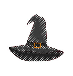 witch hat black in colored crayon silhouette vector image