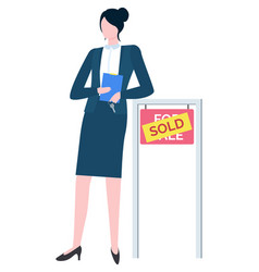 woman real estate agent in suit board for sale vector image