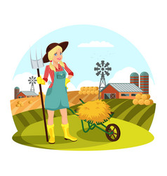 Woman with pitchfork in front of field with hay vector