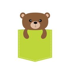Bear in the pocket Cute cartoon character Dash vector image