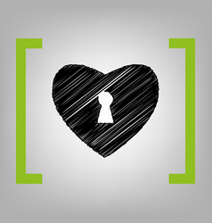heart woth lock sign black scribble icon vector image