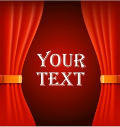 Red curtains with sample text vector image