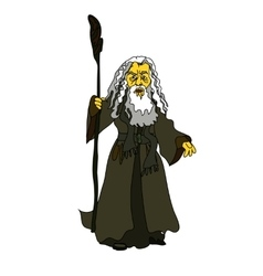 A white-haired old man with a stick in rags vector image