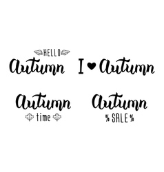 Autumn handlettering set Autumn logos and emblems vector image vector image