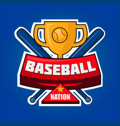 baseball nation logotype with golden cup and vector image vector image