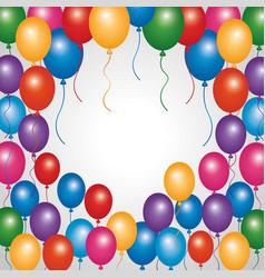 Decorative border colored balloons party vector