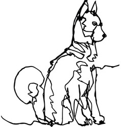 dog continuous line black on white vector image