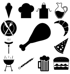 Food and restourant signs set vector image