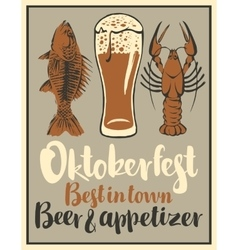 glass of beer and snack seafood vector image vector image
