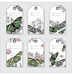set hand Floral gift tags with butterfly Hand vector image vector image