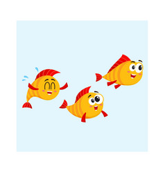 shoal of three funny golden yellow fish vector image vector image