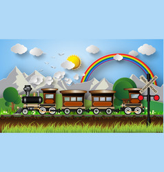 Train on a background of mountains vector