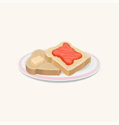 two slices of bread with butter and strawberry jam vector image