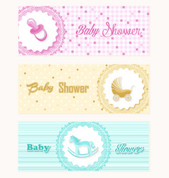 Baby shower banner set design vector image