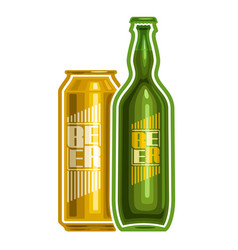Can and bottle beer vector