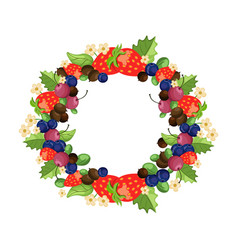 Mixed cherry and berry wreath frame design vector