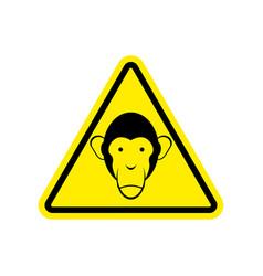monkey warning sign yellow primacy of hazard vector image vector image