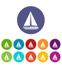 sea yacht set icons vector image