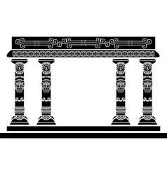 American Indian temple columns with ritual masks vector image