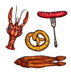 beer snack food sketch of sausage pretzel fish vector image