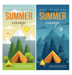 day and night summer camp banners vector image