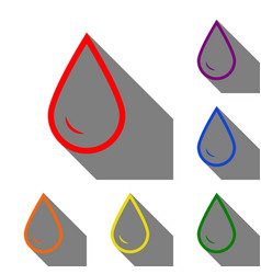 drop of water sign set of red orange yellow vector image